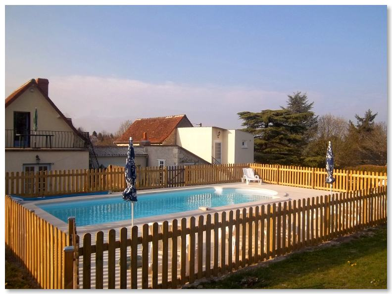 Secure enclosed outdoor swimming pool